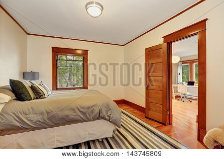 Interior Of Nice Bedroom With Grey Bed