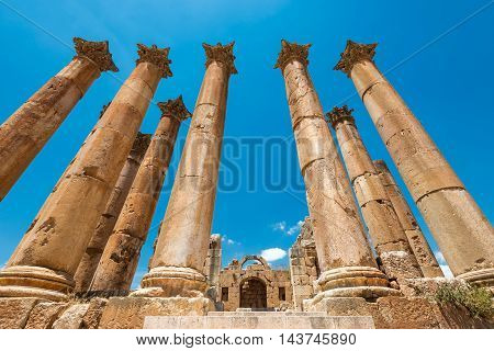 Colums of ancient Roman city of Gerasa Jerash Jordan.
