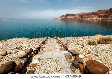 Landscape view of the Dead Sea coastline. Dead Sea, Jordan