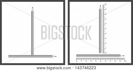 Optical illusion - vertical pencil looks longer than the horizontal one although they are the same length - with explanation on the right
