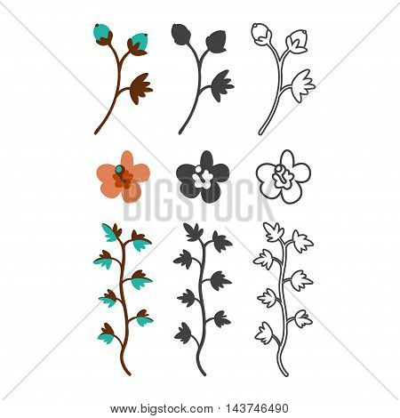 Vector colored black and line flat icon set. Sakura flower vine and button silhouette. Flat flowers icons for polygraphy web design logo app UI.
