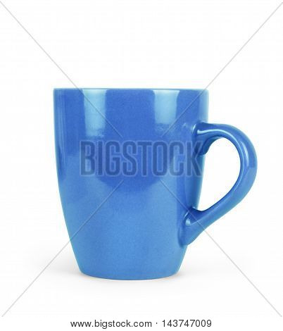 Big blue tea cup isolated on white