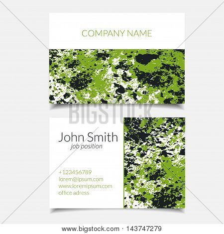 Vector business card set with abstract textured design. Green forest abstract design. Isolated.