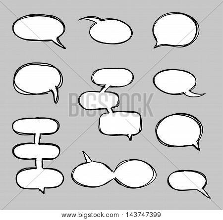 Hand-drawn vector speech bubbles sketchy doodle set design