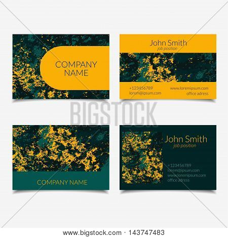 Vector business card set with abstract textured design. Green and yellow. Isolated.
