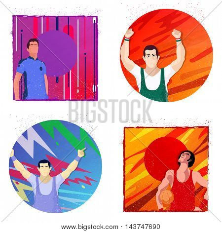 Set of four players in different winning pose on creative abstract background for Sports concept.