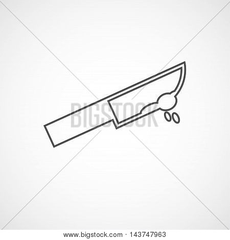 Vector flat line knife icon. Isolated bloody knife icon for logo web site design app UI. Flat crime illustration for posters cards book cover flyers banner web game designs.