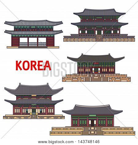 Historic temples of Korea. Vector detailed icons of Haeinsa, Gyeongbokgung, Gyeongbok palace, Namhansanseong, Changdeok, Changdeokgung, Bongeunsa. Korean showplaces symbols for souvenirs, postcards, t-shirts cups magnets