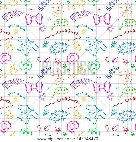 Vector design for teenager seamless textile print. Colorful endless pattern with modern symbols of youth on note paper.