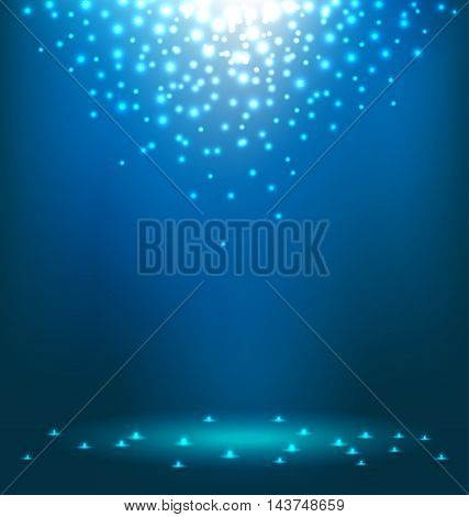 Beautiful abstract magic Light on blue background