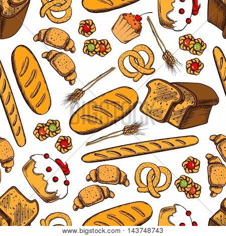 Bakery seamless background. Vector pattern of croissant, bread, baguette, cookie, cake, biscuit, bun, loaf, pretzel, bagel pie Bakery products wallpaper for patisserie cafe bakery pastry shop