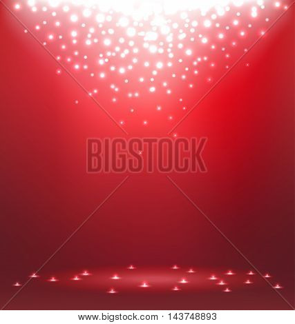 Abstract magic Light on red background for Christmas