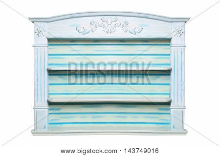 blue shelf for ware isolated on a white background
