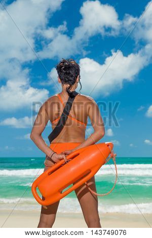 Lifeguard on the beach in the summertime