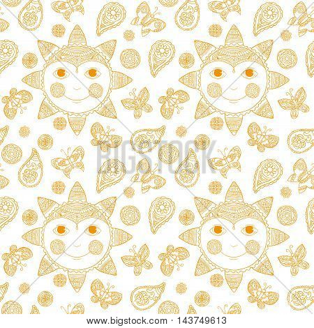 Sun and paisley - endless vector pattern or background
