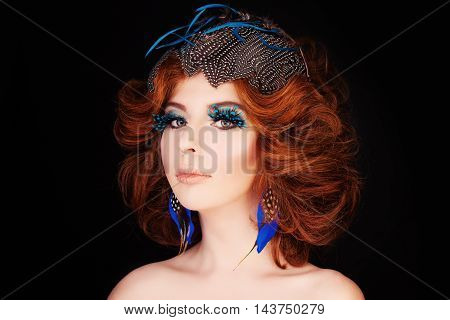Redhead Woman Fashion Model. Red Curly Hair and Makeup