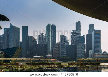 Singapore City view from Marina Bay, toned image,horizontal image