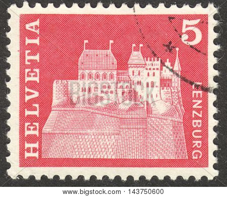 MOSCOW RUSSIA - CIRCA JUNE 2016: a post stamp printed in SWITZERLAND shows Lenzburg Castle Aargau Switzerland circa 1968