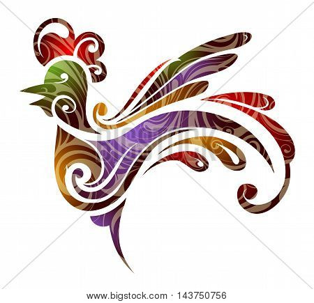 Stylized rooster as symbol for Chinese new year 2017