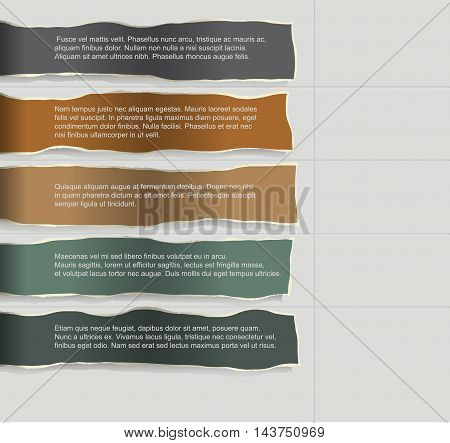 Infographics. Four consecutive torn paper of different colors with lots of room for text and descriptions.
