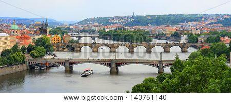 panorama Prague view of Bridges on Vltava