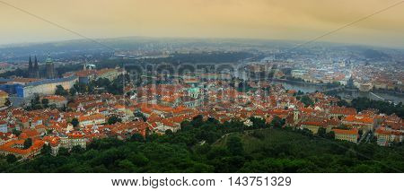 June 2015 Prague Czech republic. Panoramic view to old town Hradchany Mala Strana Prague castle and St. Vitus cathedral from Petrin tower