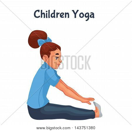 brown haired girl doing yoga, cartoon style vector illustration isolated on white background. Kid yoga, little girl in yoga asanas, healthy lifestyle