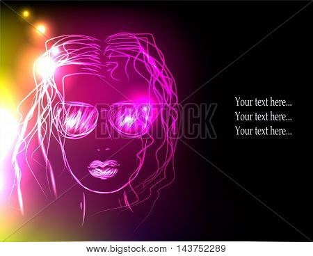 Girl in sunglasses, neon lights. Concept of rest, disco, party etc.