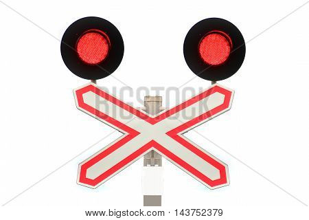 sign with the railway crossing on a white background