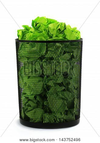 bin full of waste green paper on white background