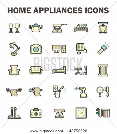 Home appliance vector icon set isolated on white background.