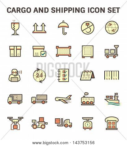 Cargo and shipping vector icon set isolated on white background.