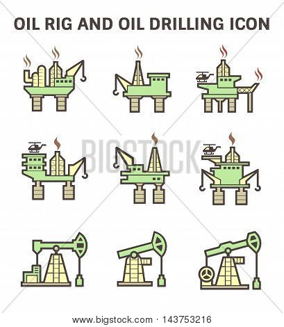 Oil rig and oil drilling vector icon sets.