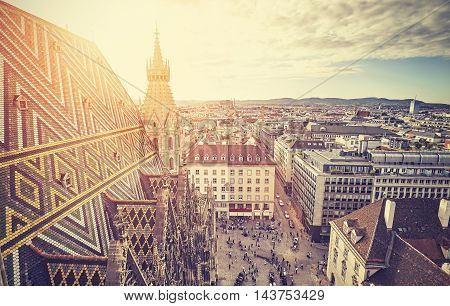 Retro Stylized Picture Of Vienna At Sunset