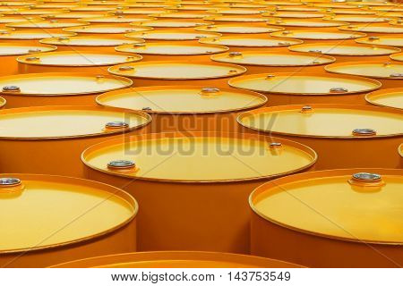 The a metal barrels of yellow color