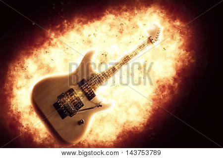 Exploding electric guitar