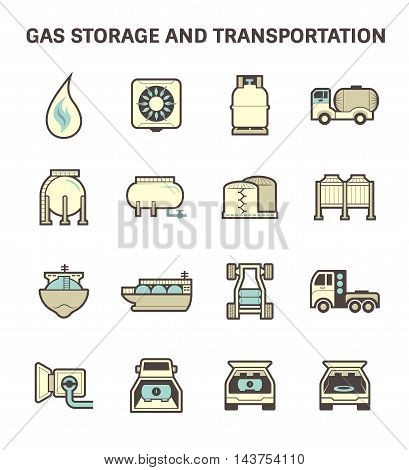 Gas storage and transportation icon sets isolated on white background.