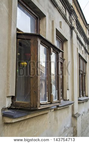 Old window with ornaments and pictures. Kibic fenster is especially made windows protruded on the building to through it could see more than the ordinary window.