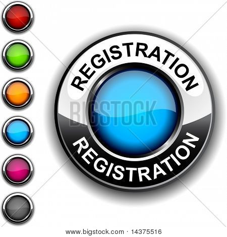 Registration realistic button. Vector.