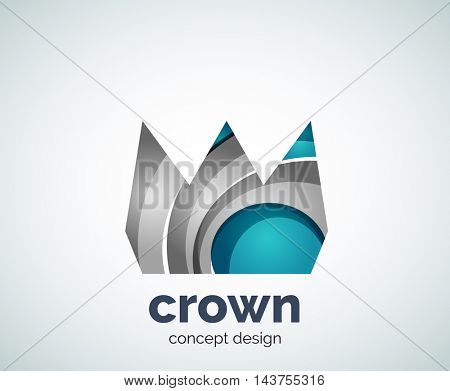 Crown logo template, abstract business icon