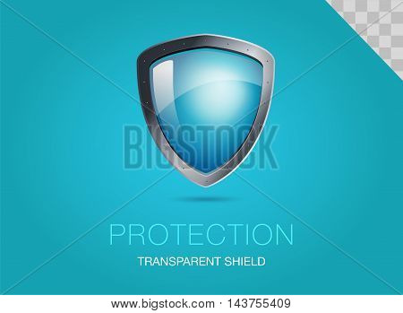 Realistic metal shield with transparent armored glass. Vector illustration of a protection or security. Blue background