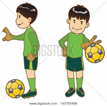 The boy as the goalkeeper in training