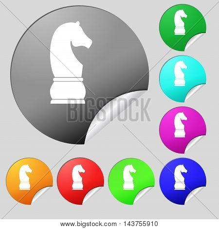 Chess Knight Icon Sign. Set Of Eight Multi Colored Round Buttons, Stickers. Vector