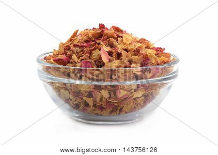 Rose petals in glass wares on a white background