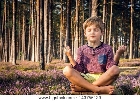 Little boy meditating in the forest. Healthy lifestyle