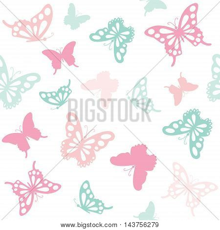 Seamless pattern background with filigree butterflies. Girly. For print and web.