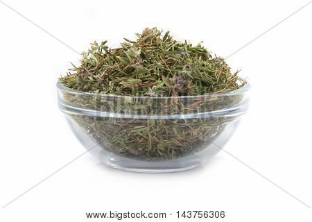 thyme in glasswares on a white background