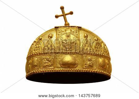 The a golden crown on a white background