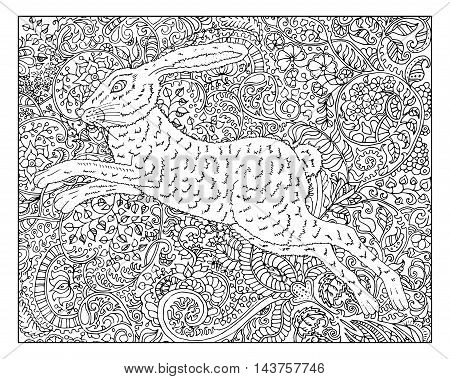 Hand drawn rabbit against zen floral pattern background for adult coloring book. Chinese new year astrological sign, horoscope and zodiac vector symbol, graphic illustration, vintage engraved style