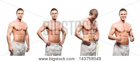 Set of fit and sporty bodybuilder men isolated on white. Sport, nutrition, gym and dieting concept.